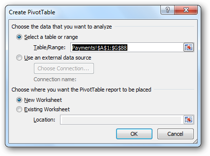 Create PivotTable dialog