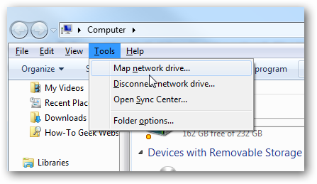 how to map a drive in windows 7