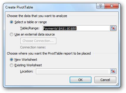 Create PivotTable dialog