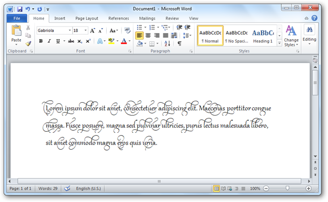 Use Advanced Font Ligatures In Office 2010