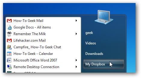 "Add ""My Dropbox"" to Your Windows 7 Start Menu"