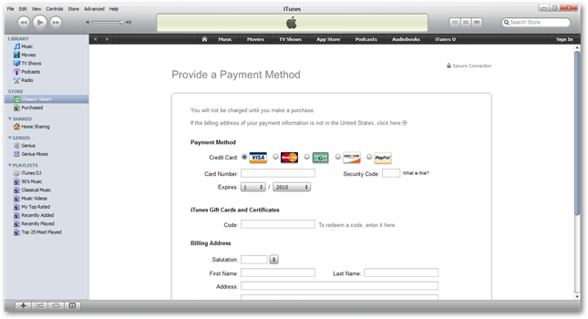if you try to download a free movie or music download you will be required to enter payment information