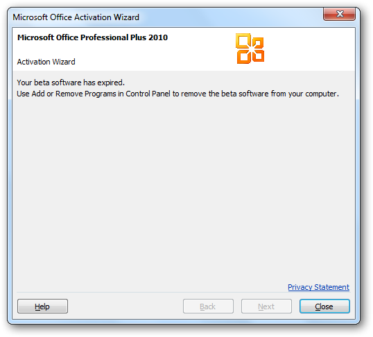 Remove Office 2010 Beta and Reinstall Office 2007