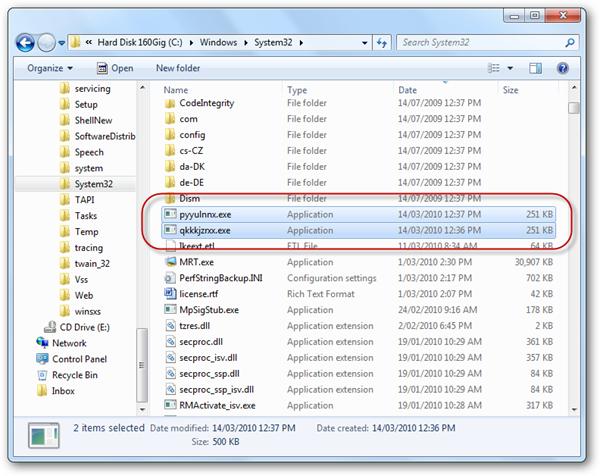 Suspicious entries in System32 folder