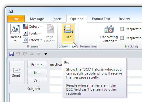 How To Use Bcc (Blind Carbon Copy) in Outlook 2010