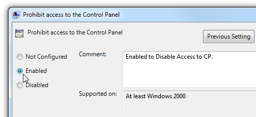 2control Panel