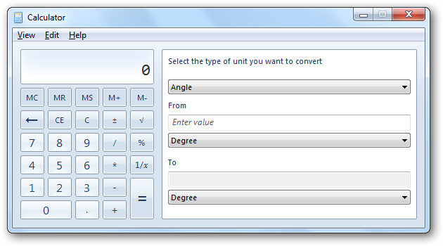 This Conversions Pane Has 3 Drop Down Menus From The Top One Select Type Of Unit You Want To Convert