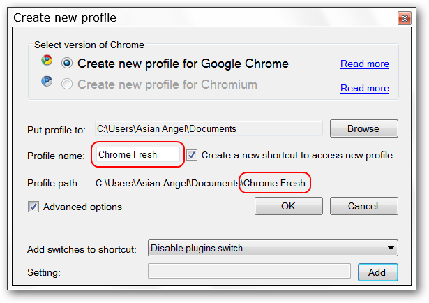 how to create profile in google