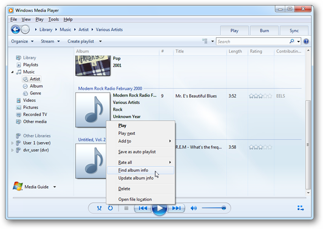 Stop windows media player from updating pictures