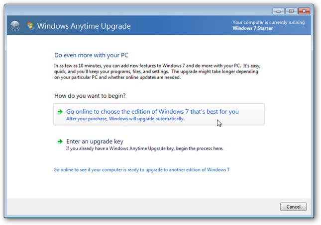 how to upgrade to windows 10 from windows 7 starter
