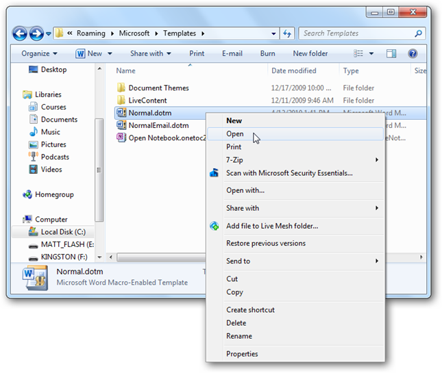 Change the default font size in word for Word 2010 template file location