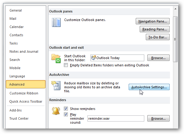 outlook search subfolders greyed out