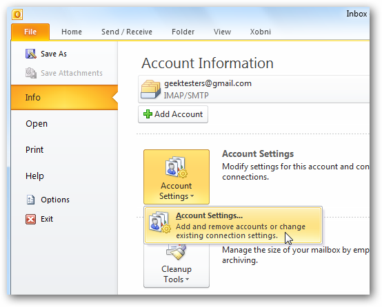 Add Your Gmail Account to Outlook 2010 Using IMAP