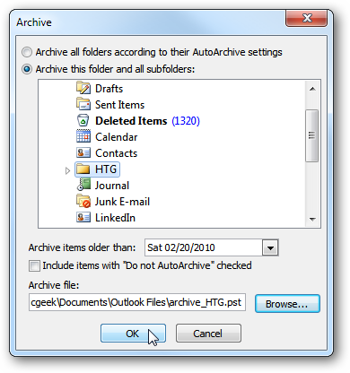 how to find archived messages on outlook
