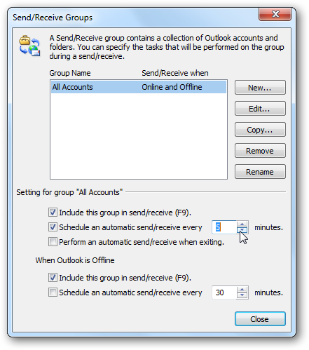 Schedule Auto Send & Receive in Microsoft Outlook