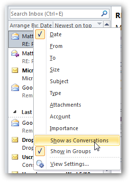 Sort Your Emails by Conversation in Outlook
