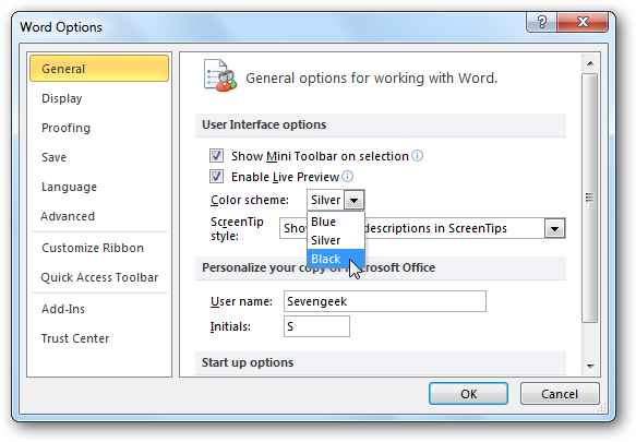 Change The Default Color Scheme In Office 2010