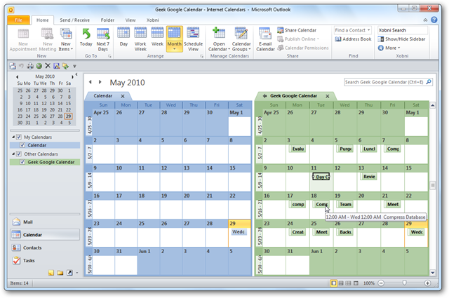 View Your Google Calendar in Outlook 2010