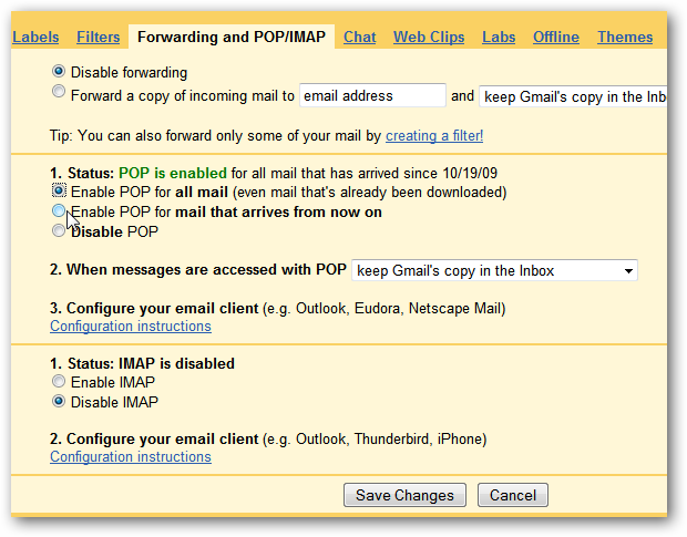 gmail outlook settings