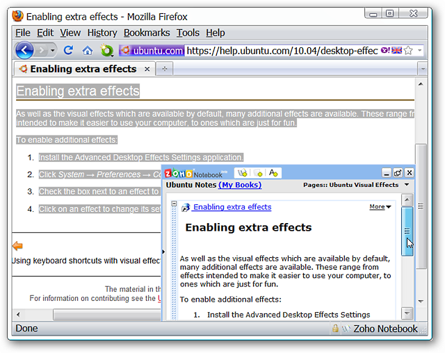 Add Notes to Zoho Notebook in Firefox