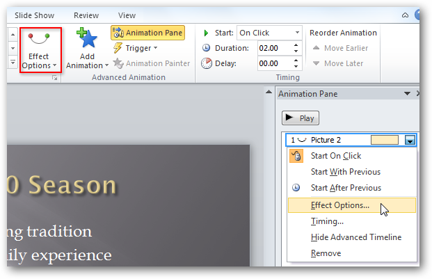 powerpoint how to add animation on words in table