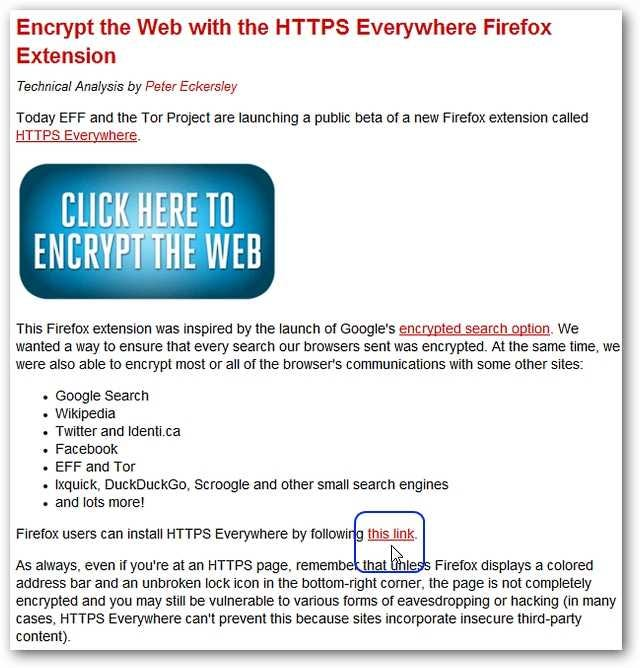 Add Automatic Website Encryption to Firefox