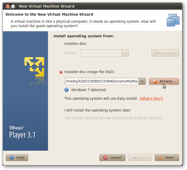 Run Windows in Ubuntu with VMware Player