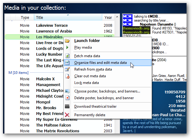 Add Cover Art and Metadata to the Media Center Movie Library