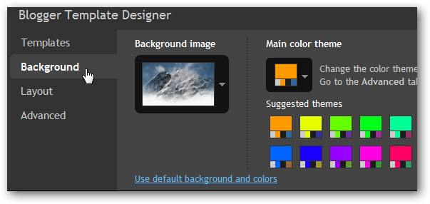 how to change background in new tab plus