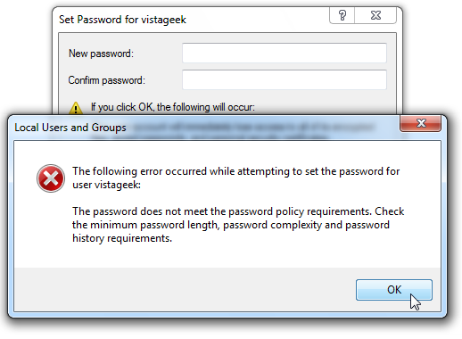 windows server 2003 password does not meet policy requirements