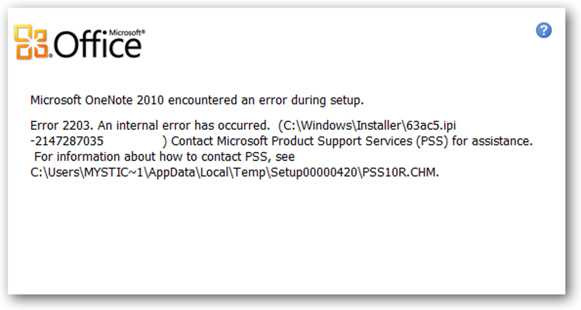 Fix For Error 2203 An Internal Error Occurred During Office 2010 Setup