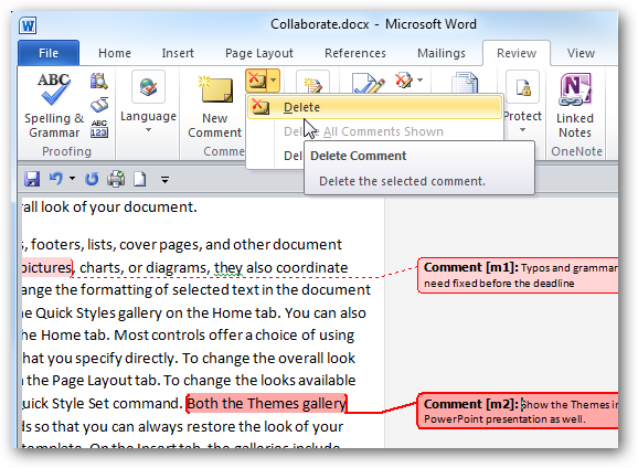 how to put comments on word document