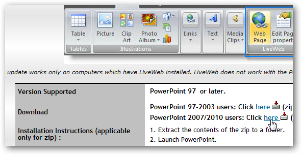 how to add live web pages to a powerpoint presentation