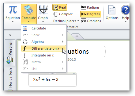 Solve and Graph Equations in Word and OneNote