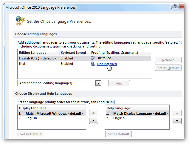 office 2010 english interface
