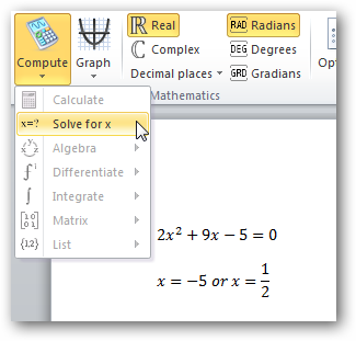 how to add math equations in word