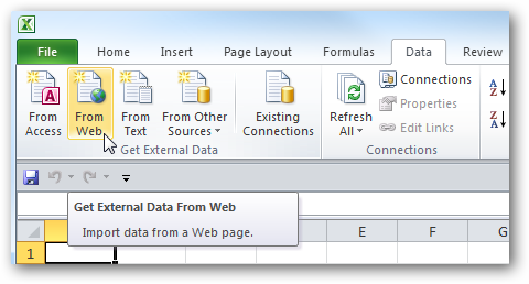 Use Online Data in Excel 2010 Spreadsheets