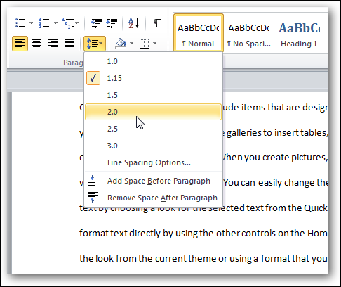 Customize The Default Line Spacing In Word 2007 2010 - Remove Line Spacing In Table Word