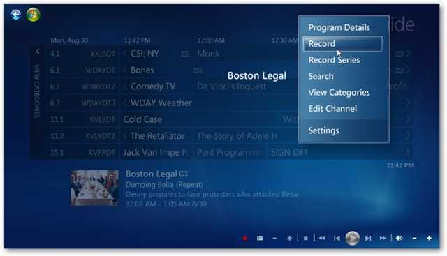 beginner schedule times to record live broadcast tv in windows 7