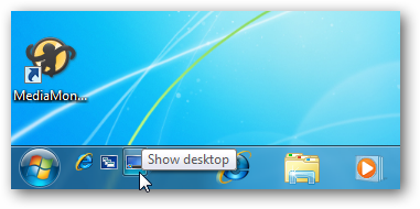 how to add show desltop to quicklaunch bar windows 7