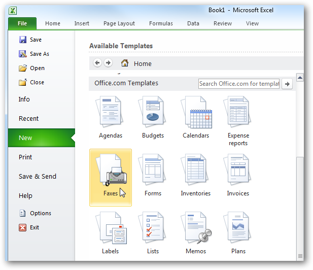 beginner using templates in ms office 2010 and