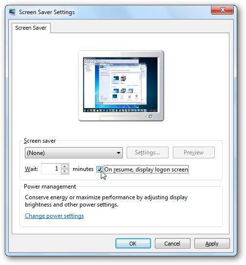 windows 7 password screen lock