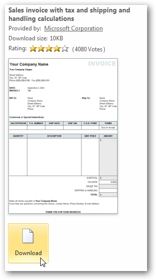 beginner: using templates in ms office 2010 & 2007, Invoice templates