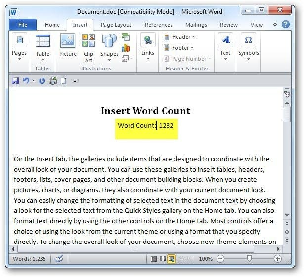 How to use field codes in ms word to create word counts sshot 2010 09 21 19 03 50 spiritdancerdesigns Choice Image