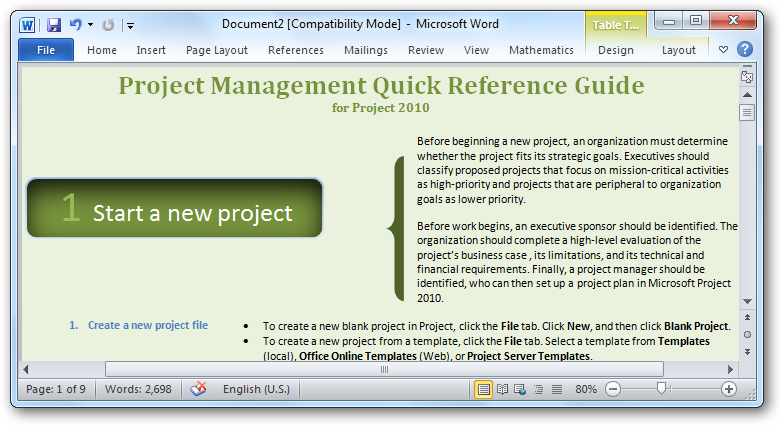 getting started with microsoft project 2010 microsoft project templates 2010