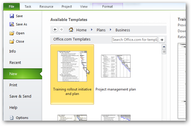 microsoft project 2010 templates