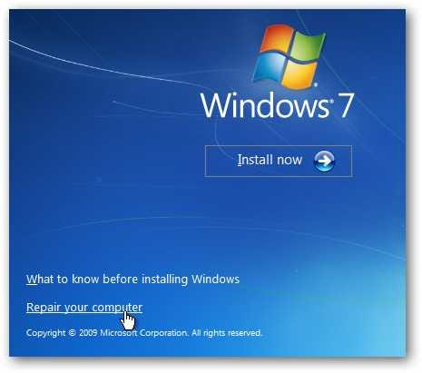 Reparer windows 7
