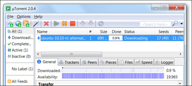 a file being downloaded in uTorrent