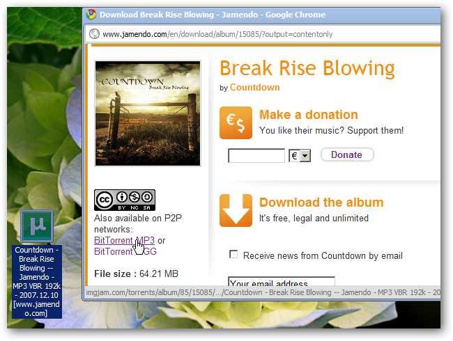 A torrent's download listing on a website