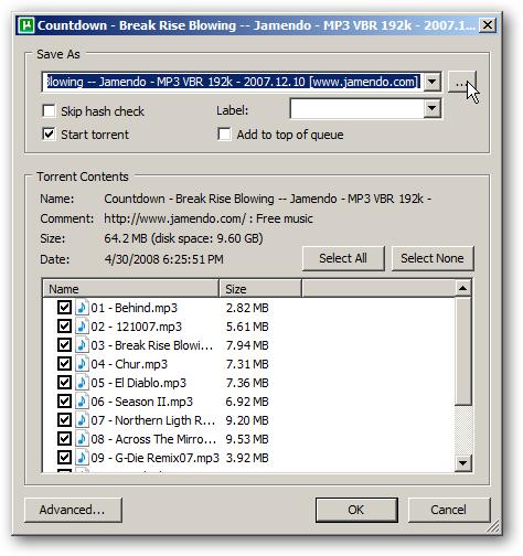 Saving the torrent in uTorrent